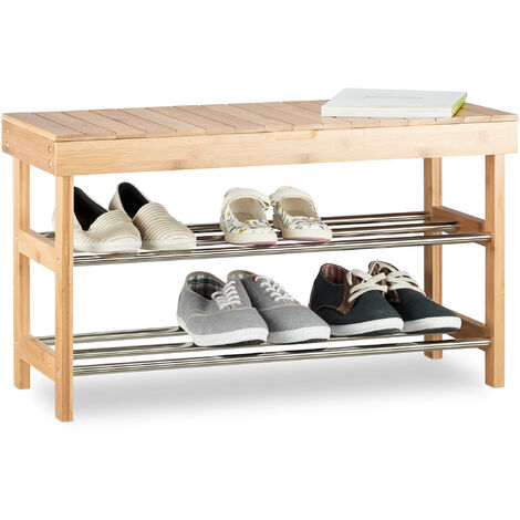 Relaxdays Shoe Storage Bench, Bamboo Shoe Rack for 6 Pairs, Seating with Storage HWD: 43x74x30 cm, Natural