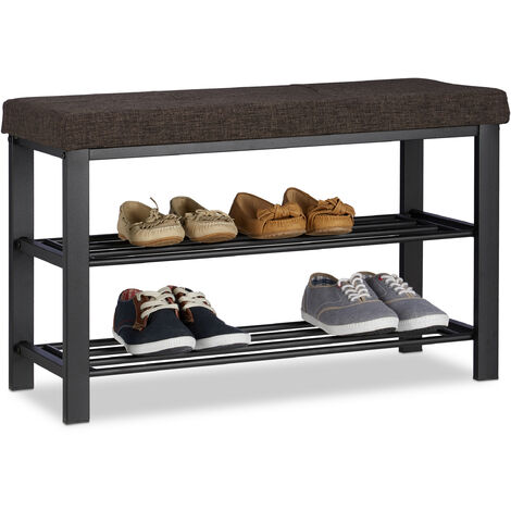 Relaxdays Shoe Storage Bench, Fabric Cover, Comfortable Seat Pad, 2 Tiers for Shoes, Metal, HWD: 50x81x32 cm, Brown
