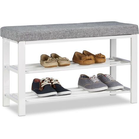 Relaxdays Shoe Storage Bench, Fabric Cover, Comfortable Seat Pad, 2 Tiers for Shoes, Metal, HWD: 50x81x32 cm, Grey