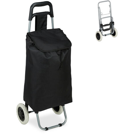 Relaxdays Shopping Trolley, Folding, 25 L Grocery Tote with Casters, 10 kg Capacity, 91 x 40 x 30 cm, Black