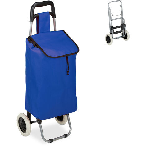 Relaxdays Shopping Trolley, Folding, 25 L Grocery Tote with Casters, 10 kg Capacity, 91 x 40 x 30 cm, Dark Blue