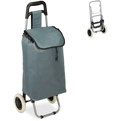 Relaxdays Shopping Trolley, Folding, 25 L Grocery Tote with Casters, 10 kg Capacity, 91 x 40 x 30 cm, Grey