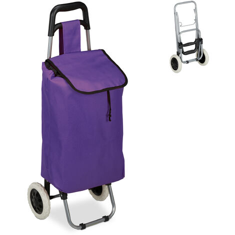 Relaxdays Shopping Trolley, Folding, 25 L Grocery Tote with Casters, 10 kg Capacity, 91 x 40 x 30 cm, Purple