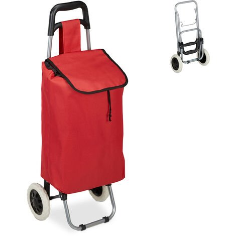 Relaxdays Shopping Trolley, Folding, 25 L Grocery Tote with Casters, 10 kg Capacity, 91 x 40 x 30 cm, Red