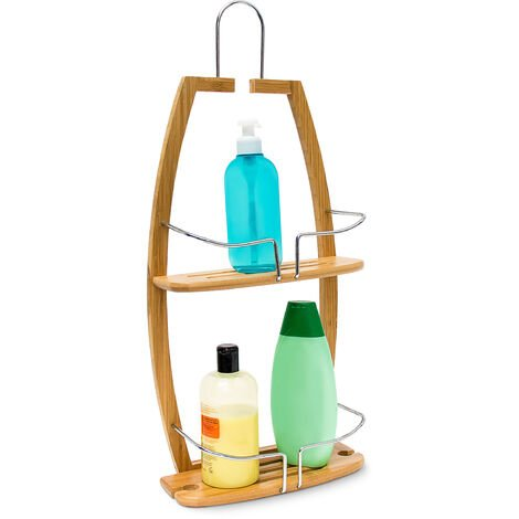 Relaxdays Shower Caddy with 2 Shelves, Bamboo, 62 x 27.5 x 13, Bathroom Wall Shelving Unit, Natural Brown