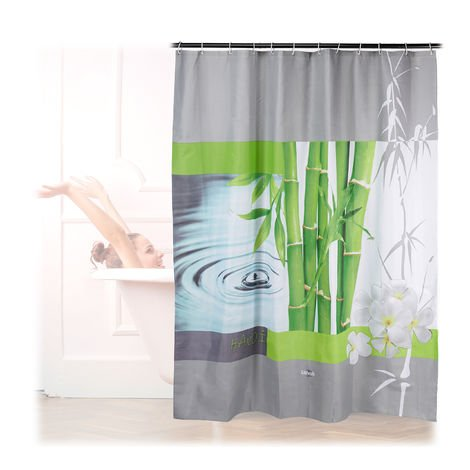 Relaxdays Shower Curtain, Anti-Mould, Washable, Water Drops & Bamboo, 12 Hooks, Bathroom Set, 180x200 cm, Colourful