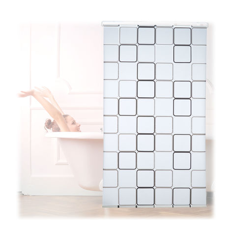 Relaxdays Shower Curtain Roller Blind, Water-repellent, Bath & Shower, Retro, From Ceiling , 120x240cm, Semi-transparent