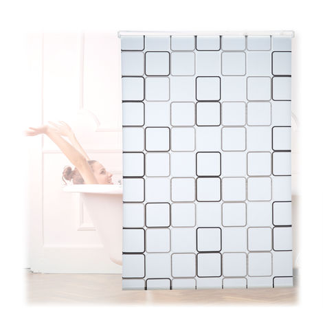 Relaxdays Shower Curtain Roller Blind, Water-repellent, Bath & Shower, Retro, From Ceiling , 140x240cm, Semi-transparent