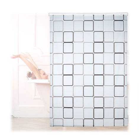 Relaxdays Shower Curtain Roller Blind, Water-repellent, Bath & Shower, Retro, From Ceiling , 160x240cm, Semi-transparent