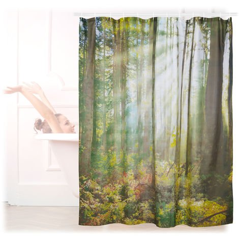 Relaxdays Shower Curtain with Natural Forest Motif, Polyester, Washable, Anti-Mould, Bathroom Curtain 180x180 cm, Green