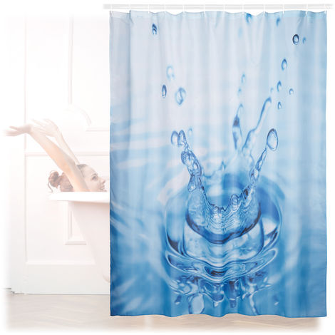 Relaxdays Shower Curtain with Waterdrop Motif, Polyester, Washable, Anti-Mould, Bathroom Curtain 180x180 cm, Blue