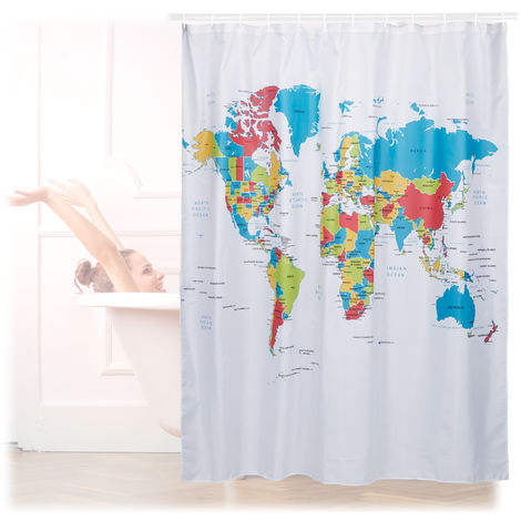 Relaxdays Shower Curtain with World Map Motif, Polyester, Washable, Anti-Mould, Bathroom Curtain 180x180cm cm, Colourful
