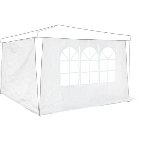 Relaxdays Side Parts Set of 2 for 3x3m Gazebo Pavilion Tent, Walls w Windows for Canopy, Privacy Screen for Party Tent, White