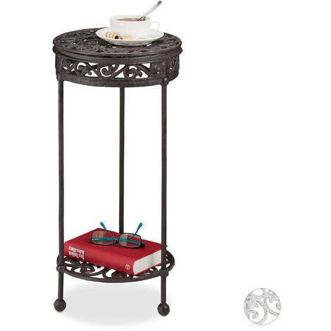 Relaxdays Side Table, Cast Iron, Round, 2 Tiers, Country Look, In- & Outdoors, Stand, HxD: 62 x 29 cm, Brown