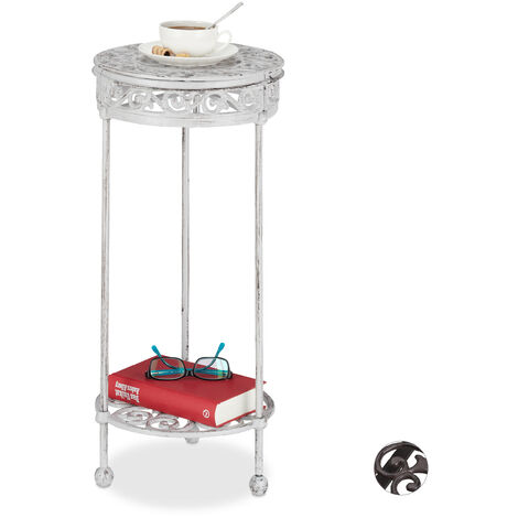 Relaxdays Side Table, Cast Iron, Round, 2 Tiers, Country Look, In- & Outdoors, Stand, HxD: 62 x 29 cm, White