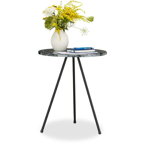 Relaxdays Side Table in Marble-Look, 47 x 40 x 40 cm, Round Coffee Table, Indoors & Outdoors, 3-Legs, Marbled