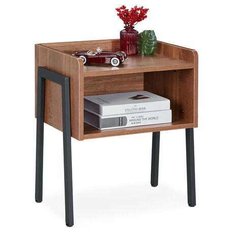 Relaxdays Side Table, Industrial Style, 2 Tiers, Nightstand, Wood Look, Steel, HWD: 53 x 45 x 35 cm, Brown/Black