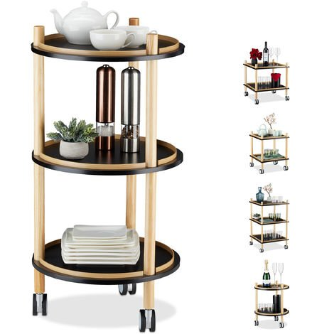 Relaxdays Side Table on Casters, Round, 3 Tiers, Wood, MDF, Small Rolling Trolley, H x D: 79.5 x 40 cm, Black