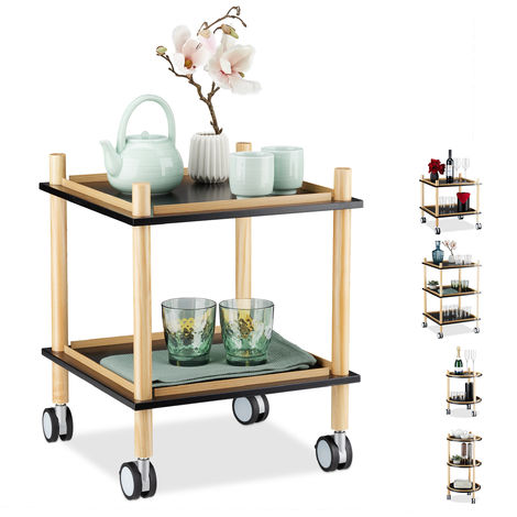 Relaxdays Side Table on Casters, Square, 2 Tiers, Wood, MDF, Small Rolling Trolley, HxWxD: 50 x 40 x 40 cm, Black