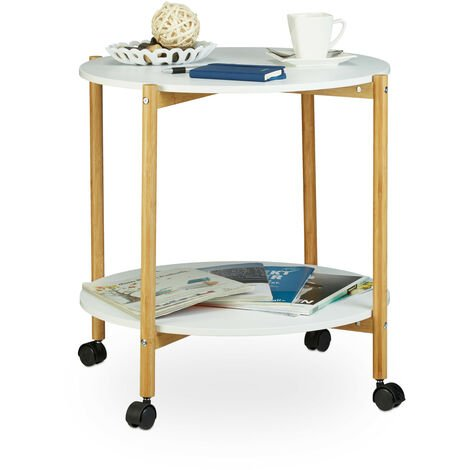 Relaxdays Side Table on Castors, Round Two-Storey Coffee Table, End Table on Wheels for Universal Use, White