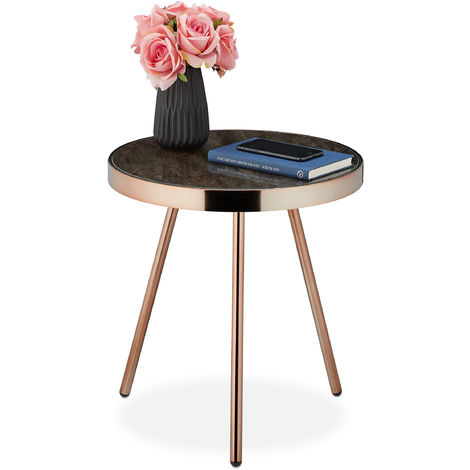 Relaxdays Side Table, Retro Design, Living Room, Glass Top with Marble Look, HxD 45x42 cm, Black-Rosé Gold