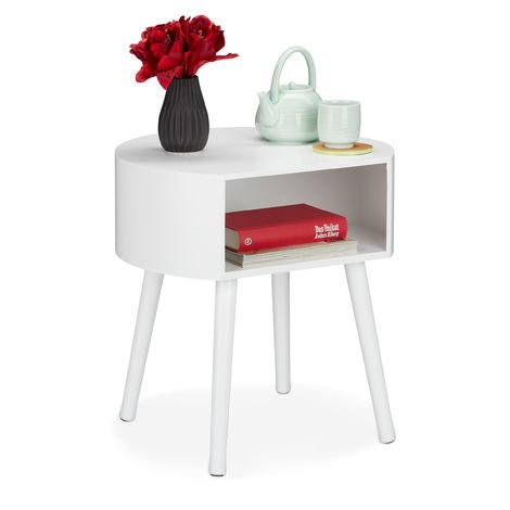 Relaxdays Side Table, Round Nightstand with Storage Compartment, Wooden Legs, Simple Design, HxWxD 47.5x46x40 cm, White