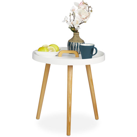 Relaxdays Side Table, Round Tray Coffee Table With handle, Nordic Design, 3 Legs, HWD 51 x 49.5 x 49.5 cm, White