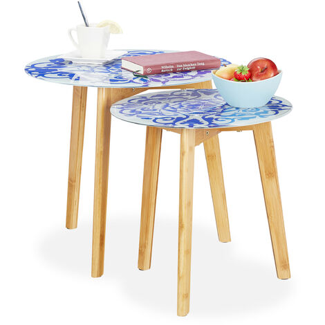 Relaxdays Side Table Set of 2, Bamboo Legs, Glass Tabletops, Decorative Floral Pattern, 40 & 50 cm, White/Blue
