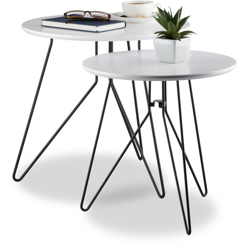 Relaxdays Side Table Set Of 2 Round Coffee Table Ensemble With