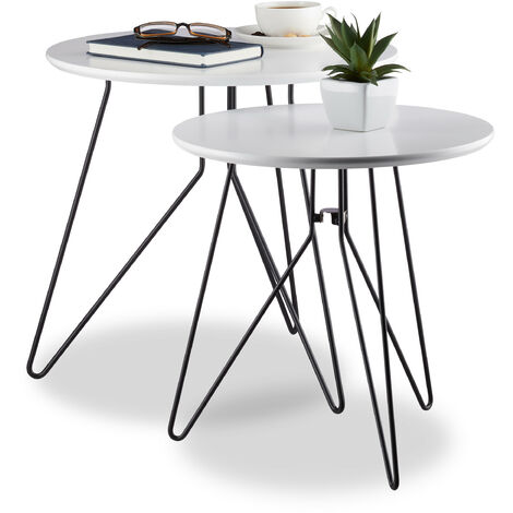 Relaxdays Side Table Set of 2, Round Coffee Table Ensemble with Metal Frame, Display Stands, 40/48 cmTabletop, White/Black