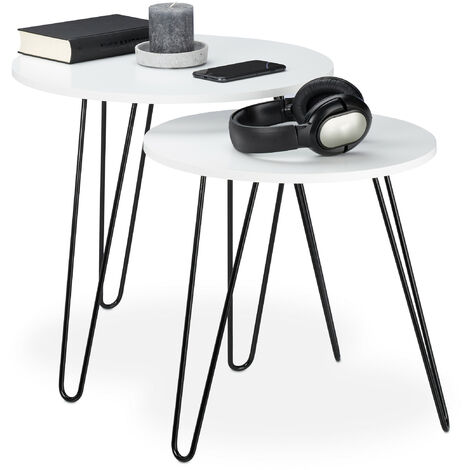Relaxdays Side Table Set of 2, Round, Matching Hallway Tables, Living Room, 3 Metal Legs, Ø 40 and 48 cm, White