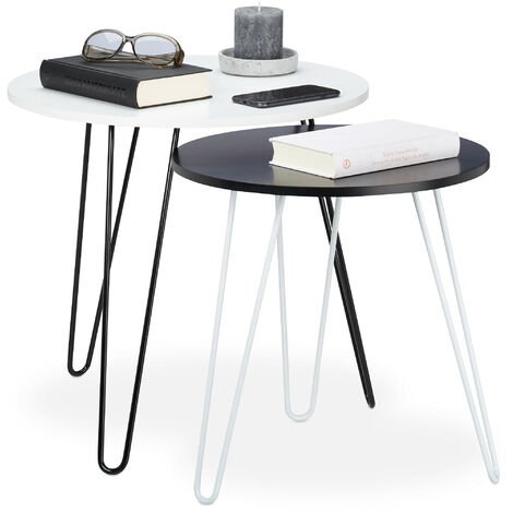 Relaxdays Side Table Set of 2, Round, Matching Hallway Tables, Living Room, 3 Metal Legs, Ø 40 and 48 cm, White-Black