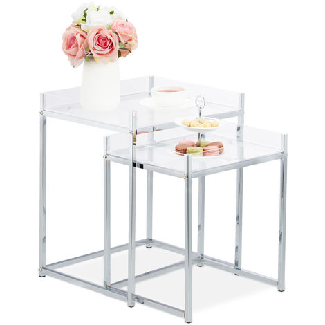 Relaxdays Side Table Set of 2, Square, Modern Design, Acrylic Living Room Stand, HWD: 49 x 40 x 35 cm, Clear