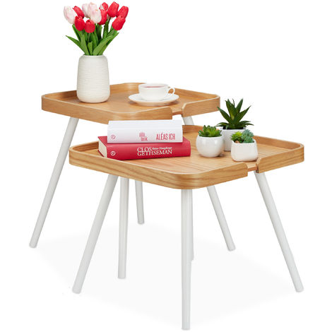 Relaxdays Side Table Set Of 2, Square, Wood, Nightstand, Sofa End Tables With Raised Rim, H 41 & 47.5 cm, Natural/White