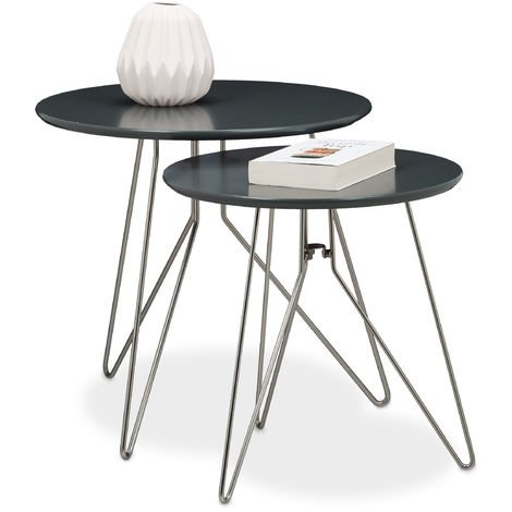 Relaxdays Side Table Set of 2, Wooden, 48 and 40 cm Diameters, in 2 Different Sizes, Matt Gray