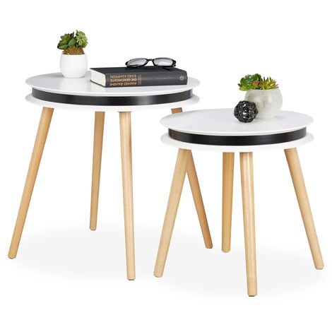 Relaxdays Side Table Set of 2, Wooden Legs, 5 cm Thick Round Tabletops, Coffee Table, 40 & 48 cm, White/Natural