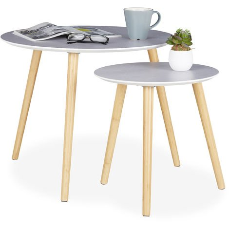 Relaxdays Side Table Set of 2, Wooden Legs, Round Tabletops, Decorative Pattern, 40 & 60 cm, Grey/Natural