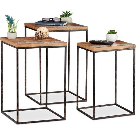 Relaxdays Side Table Set of 3, Mango Wood & Metal, Mixed Styles, Living Room Nesting Tables in Various Sizes, Brown / Black