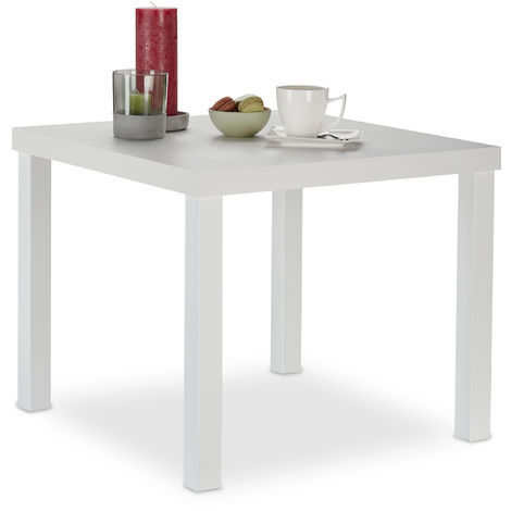 Relaxdays Side Table, Square Coffee Stand, Modern Design, HxWxD: 45 x 55 x 55 cm, White