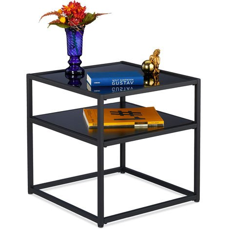 Relaxdays Side Table, Square Coffee Table, Black Glass, Metal & MDF, Modern Design, Living Room, 50x50x50, Black