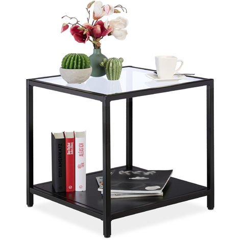 Relaxdays Side Table, Square Coffee Table, Glass, Metal & MDF, Modern Design, Living Room, 50x50x50, Black