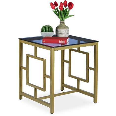 Relaxdays Side Table, Square Coffee Table with Glass Tabletop, Geometric Pattern, Antique, 54.5 x 50 x 50 cm, Golden