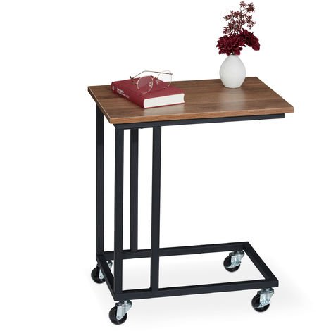 Relaxdays Side Table with Casters, Square Tabletop with Wood Look, Steel, HxWxD: 60x50x35 cm, Brown/Black