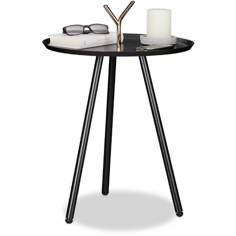 Relaxdays Side Table with Handle, Accent Stand, Three-Legged, Modern Tray, Round, HWD 64x45x45 cm, Black-Rosé Gold