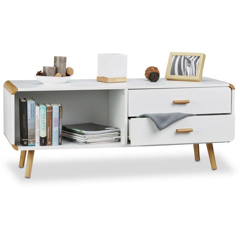 Relaxdays - Sideboard abgerundet mit 2 Schubladen, langes Lowboard mit Beine, flache TV-Bank HxBxT 48 x 120 x 40 cm, weiß
