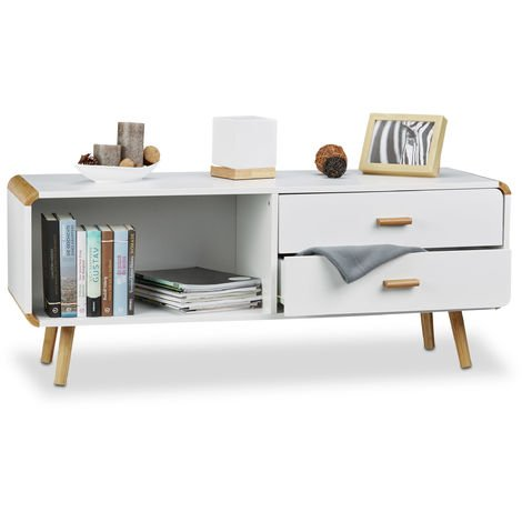 Relaxdays Sideboard with Rounded Edges and 2 Drawers, Long Cabinet with Legs, Low TV Table, HxWxD: 48 x 120 x 40 cm, White