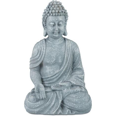 Relaxdays Sitting Buddha Figurine, 18 cm, Decorative Ornament for Living Room and Bathroom, Moisture-Resistant, Grey