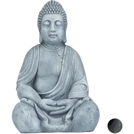 "main image of ""Relaxdays Sitting XL Buddha Figurine, 50 cm, Feng Shui, Outdoor, Garden, Decor;Big Zen Buddha Figurine, Light Grey"""