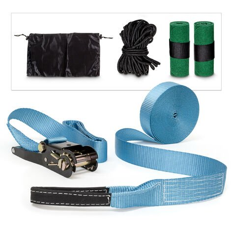 Relaxdays Slackline 15M With Tree Protection And Ratchet With Bag Slacklining Ideal For Beginners, Blue