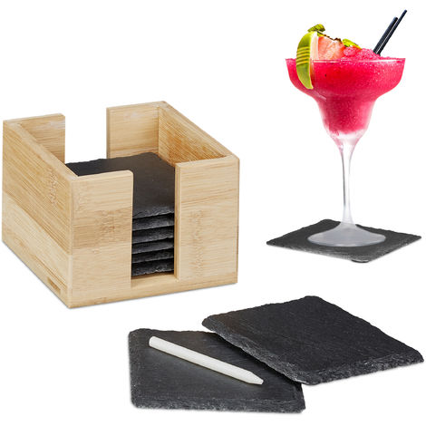 Relaxdays Slate Coaster Set of 8, Glass Pads with Bamboo Box, Chalk for Labelling, Square, 10x10 cm, Natural